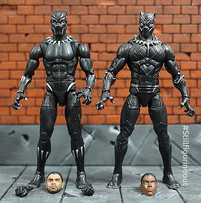 Marvel Legends – Hasbro Black Panther (Okoye BAF wave) vs Hasbro Black Panther (Giant-man BAF wave)