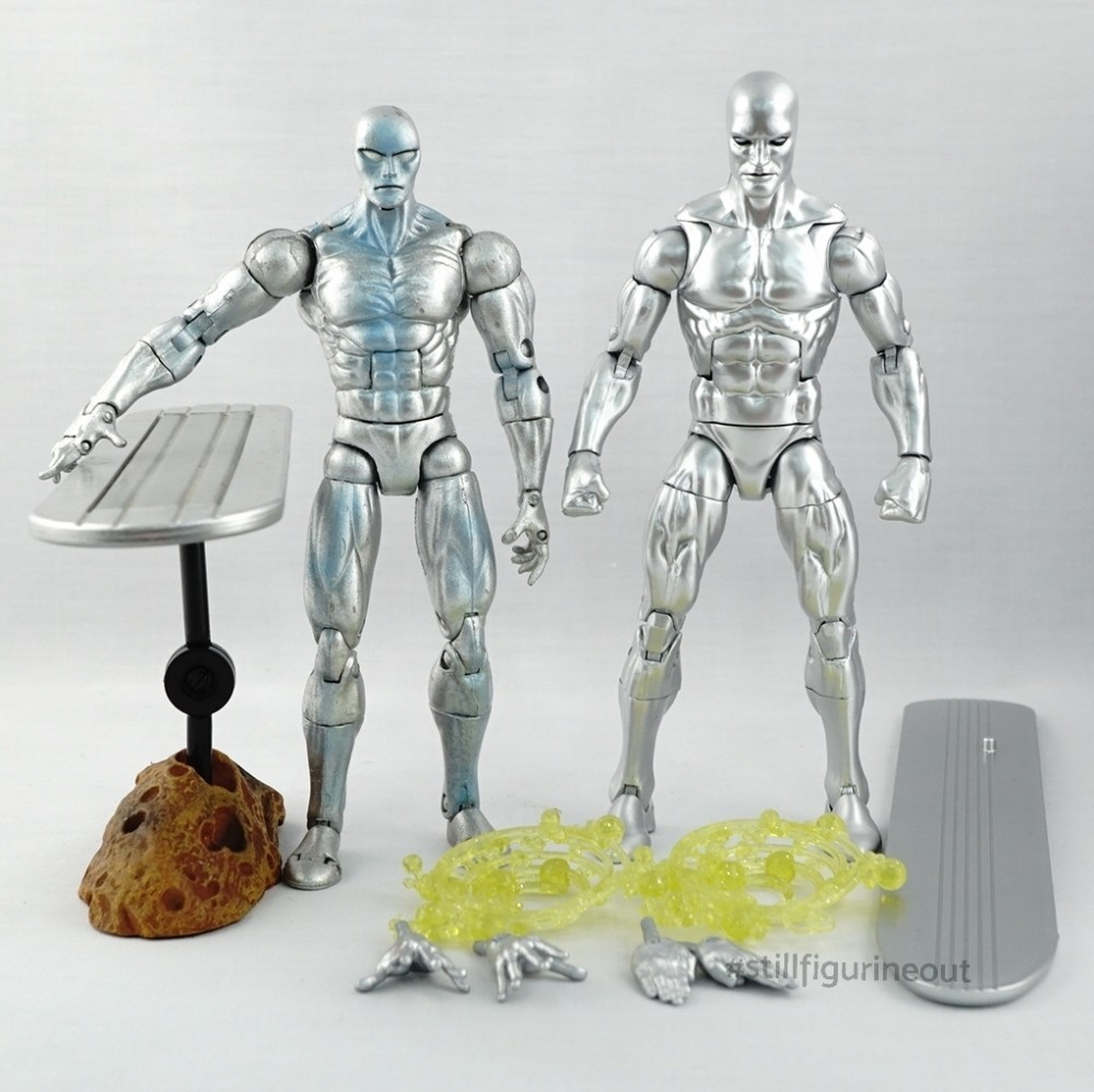 Marvel Legends – Toybiz Silver Surfer (Series V) vs Hasbro  Silver Surfer (Walgreens Exclusive)