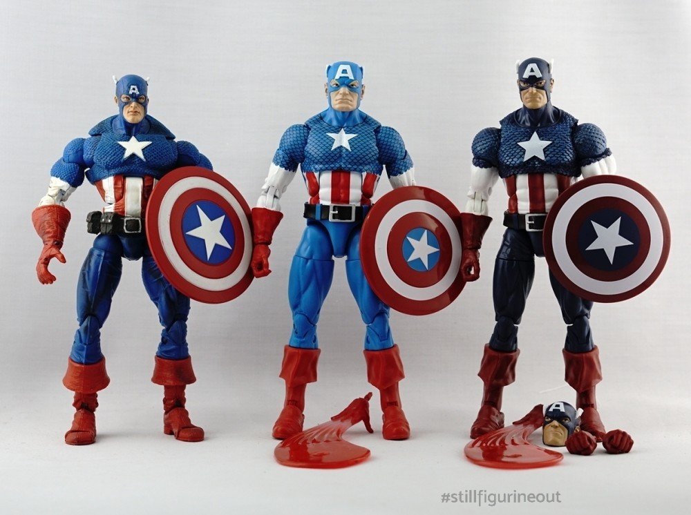 Marvel Legends - Toybiz Captain America (Face-off 2-pack) vs Hasbro Captain America (Vintage Wave 1) vs Hasbro Captain America (80th Anniversary)