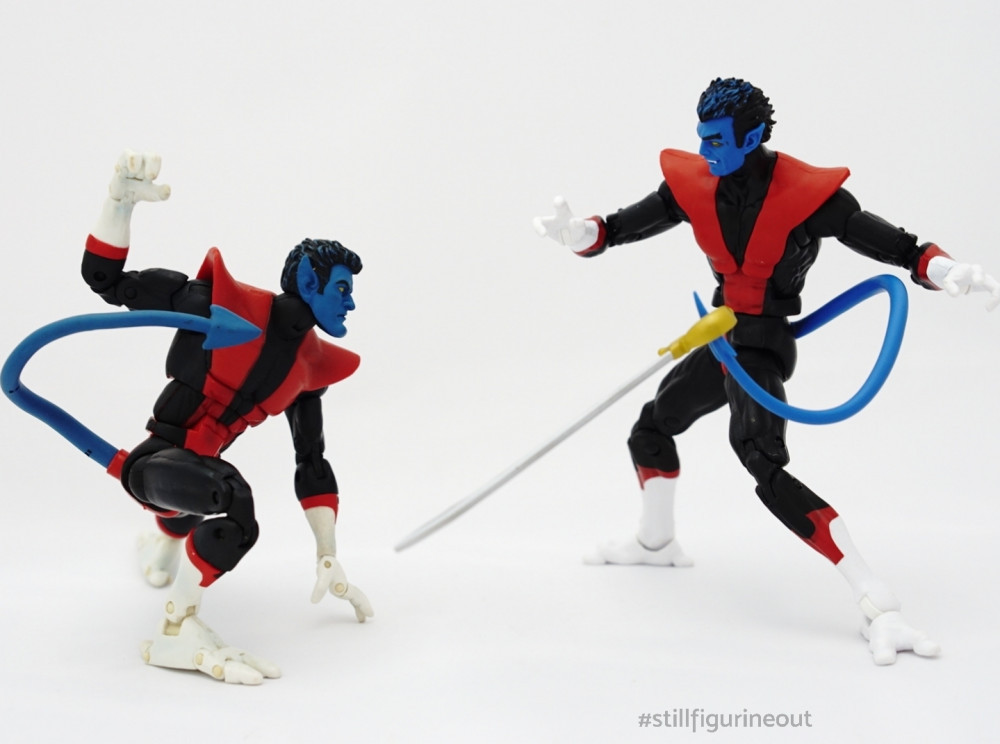 Marvel Legends - Toybiz Nightcrawler (Galactus BAF Wave) vs Hasbro Nightcrawler (Wendigo BAF Wave)
